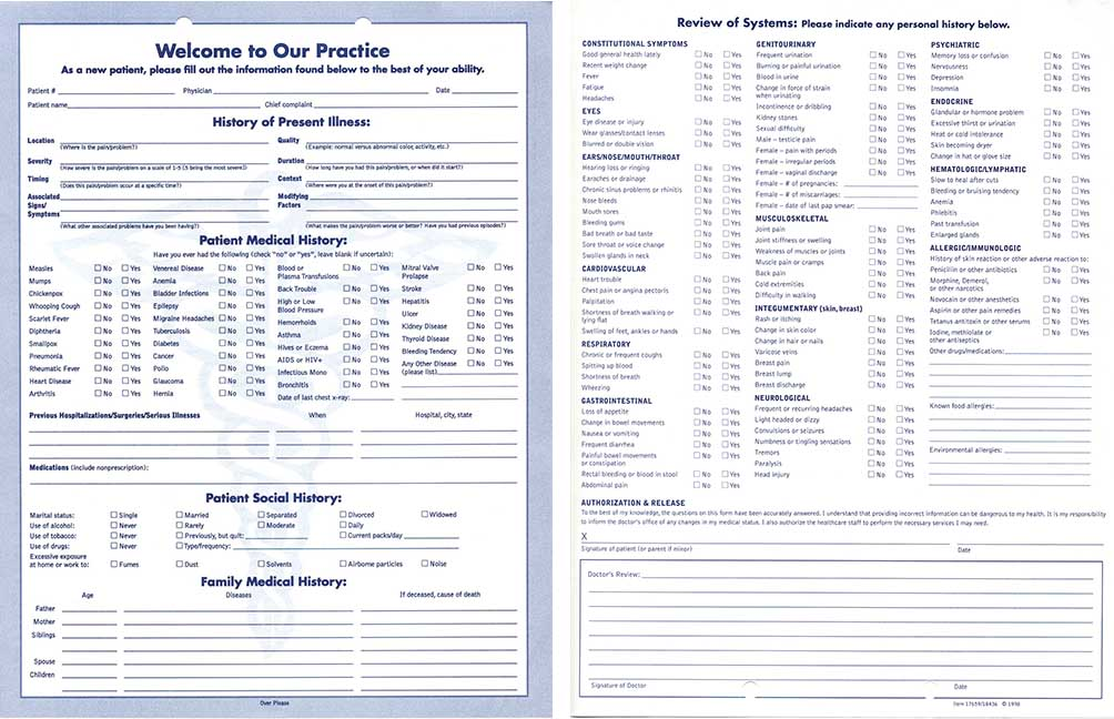 Clinical Data Forms-Welcome / Patient Information, Clinical Data