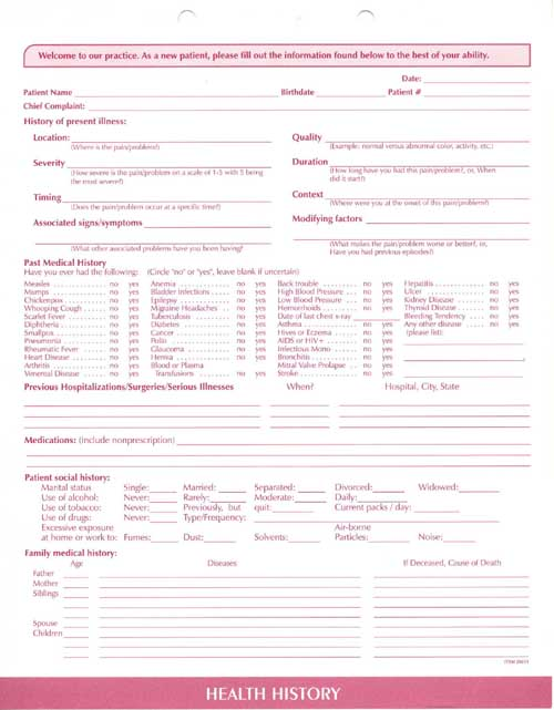 Clinical Data FormsComplete Medical System Clinical Data Forms – Sample Medical History Form