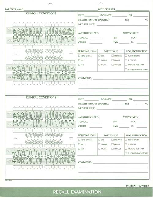 Dental Charting System, Clinical Charting Forms, Dental Forms ...