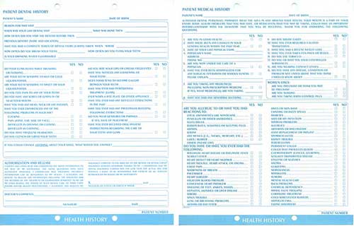Dental Charting System Clinical Charting Forms Dental Forms – Sample Medical History Form