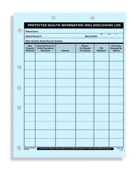 Hipaa Phi Disclosure Log Protected Health Info Logs