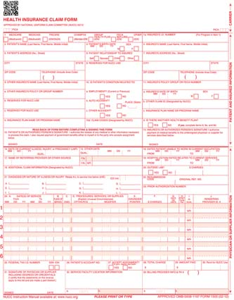Insurance Claim Forms: CMS1500 - Continuous