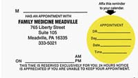 Appointment Reminder Card