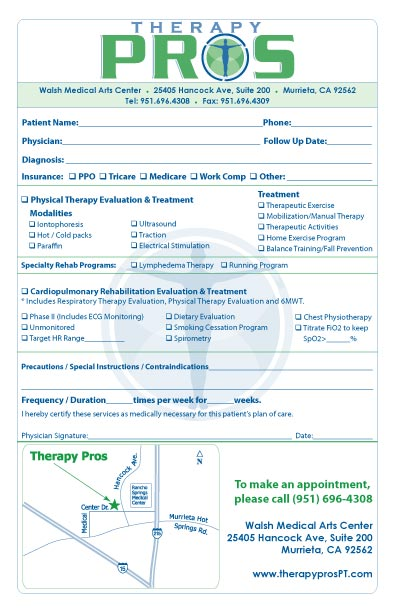 referral pad samples by specialty